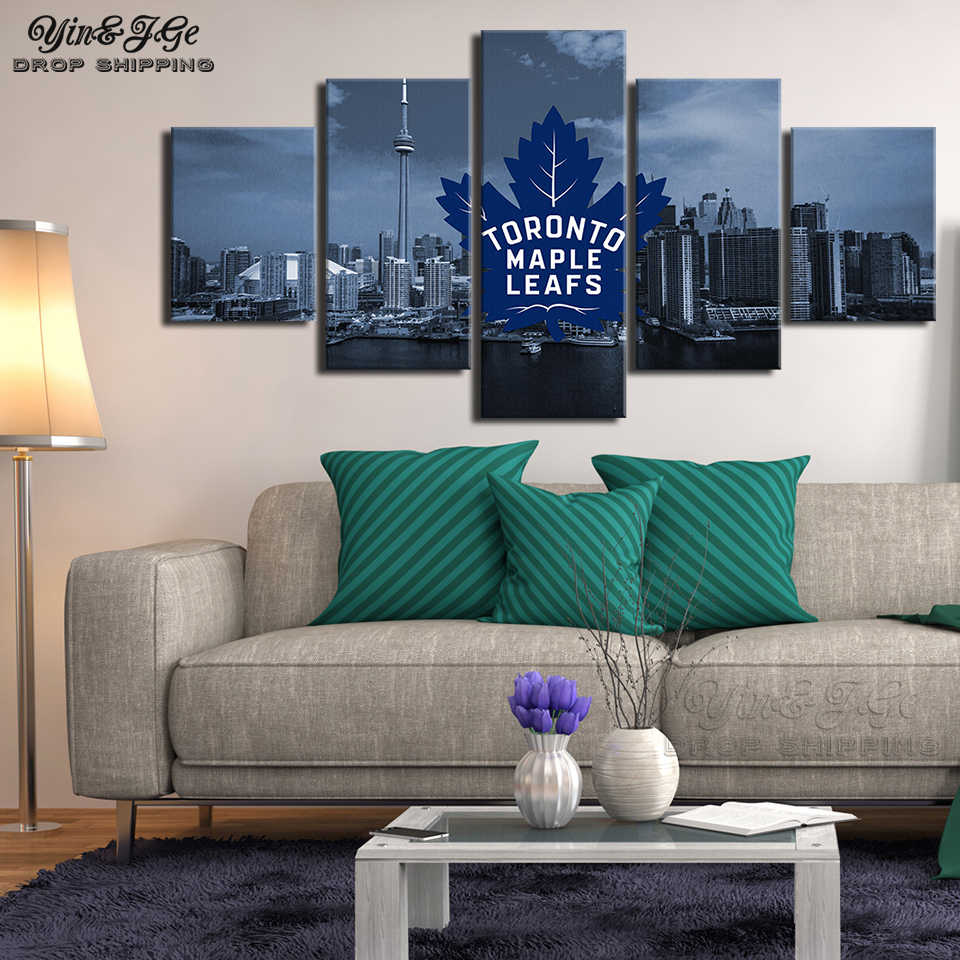 2074f936344 HD Prints Landscape Poster 5 Pieces Canvas Painting Toronto Maple Leafs  Modular Picture Frame Home Decor
