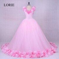Gothic Pink Wedding Gowns 2018 LORIE Vestidos de noiva 3D Flowers Romantic Bridal Dresses Off Shoulder Plus Size Custom Made