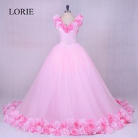 Gothic Pink Wedding Gowns 2018 LORIE Vestidos De Noiva 3D Flowers Romantic Bridal Dresses Off Shoulder