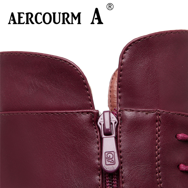 0d1287cf821 Aercourm A 2018 Grils Winter Knight Boots Boots Women Ankle Waterproof  Platform Boots Plush Zipper Boots Black Wine Red Shoes-in Ankle Boots from  Shoes on ...
