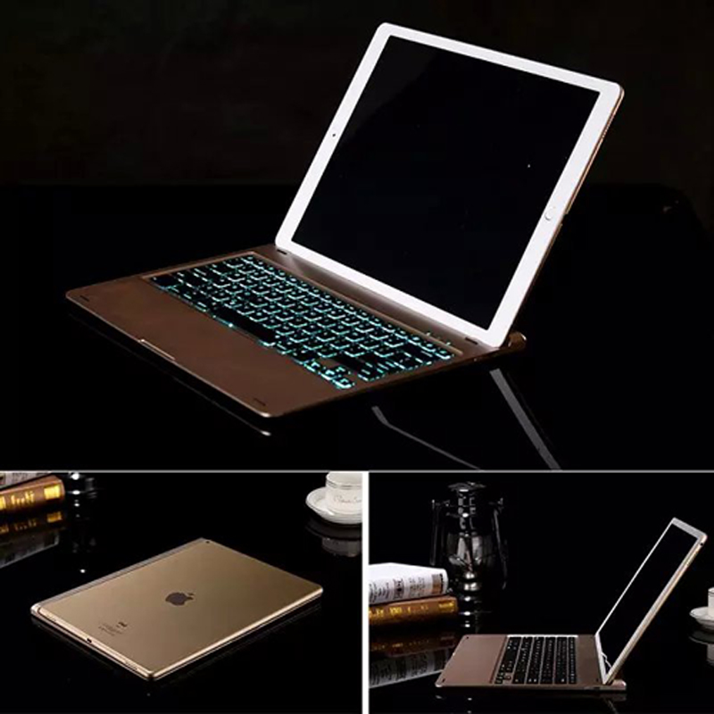 For Apple iPad Pro 12.9 Ultrathin Portable Wireless Bluetooth Keyboard Case  Smart Sleep Case Stand Holder   7 Color Backlight-in Tablets   e-Books Case  from ... decf2adc3fe4