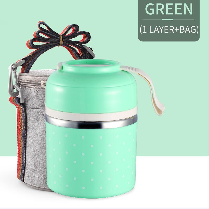 Милые детские Термальность Коробки для обедов герметичность Нержавеющая сталь Bento box для детей Портативный Пикник школа Еда контейнер Box - Цвет: Green 1 With Bag