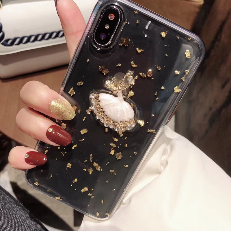Tfshining Gold Foil Glitter Bling Case for iPhone X XS MAX 8 7 6 6S Plus Ballet Girl Silicone Clear Case TPU Back Shell Cover (7)