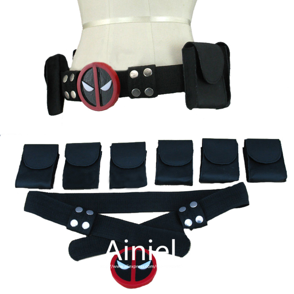 Ainiel Deadpool Cosplay  Costume Accessories Deadpool backpack Belt  Sword Back Strap Sheath Buckle with belt and 6 belt pouches