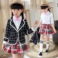 Niños niñas traje de primavera camisa del uniforme escolar traje de falda de tres piezas de los niños Coreanos niñas 3-12 años antiguo Colegio ropa