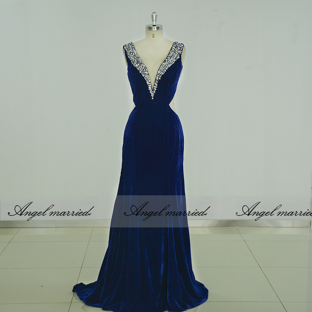 73860ecdd15c1 US $135.15 15% OFF|Angel married prom Dresses mermaid slim backless evening  dress 2019 royal blue womens formal party dress vestido de festa-in ...