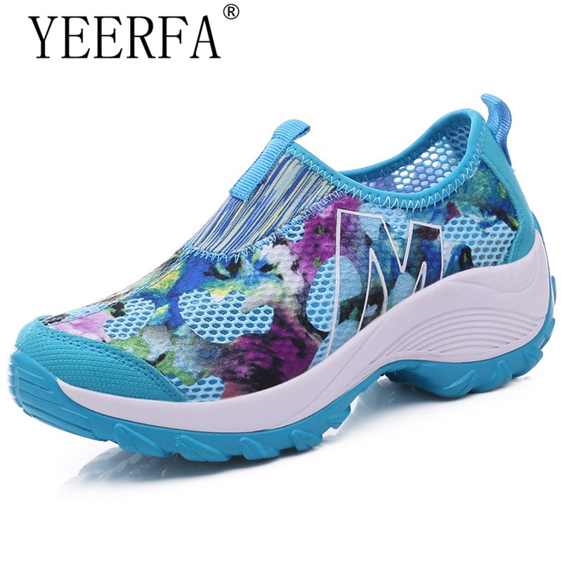 YEERFA Summer Women Casual Shoes Swing Wedges Breathable Air Mesh Fashion Walking Shoes Platform Tenis Feminino Slip On Red phyanic 2017 gladiator sandals gold silver shoes woman summer platform wedges glitters creepers casual women shoes phy3323