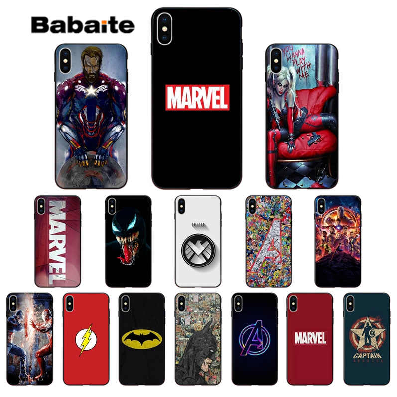 Babaite Marvel Avengers Captain America Batman Luxury Phone Case Cover for iPhone 5 5Sx 6 7 7plus 8 8Plus X XS MAX XR