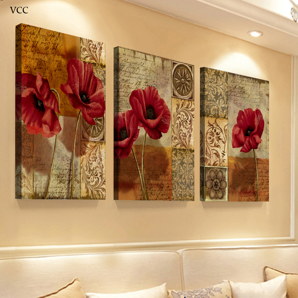 3 piece canvas art flowers paintings on the wall art for Art painting for home decoration