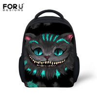 FORUDESIGNS Children Cartoon Shoulder Backpack Cute 3D ALICE Toothy Cat Kids Book Bag For Boys Girls