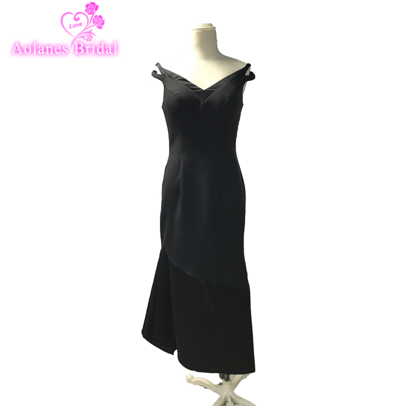 Fashion Black Mermaid Prom Dresses Host Slim Party Evening Dress Gown Vestido Longo De Festa Vintage Fashion Mermaid Prom Gowns