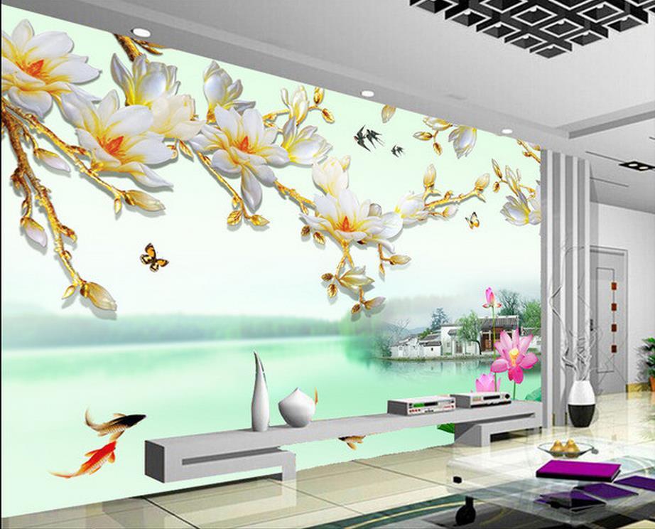 Wall Mural Photo Wallpaper: 3d Wall Murals Wallpaper Chinese Style Backdrop Magnolia