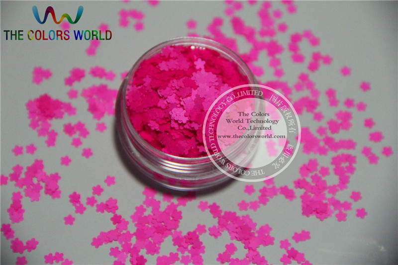 Solvent resistant - Neon Shocking Pink Color Flower Shape Glitter Spangles for Nail Polish and Other DIY decoration 1Pack =50g dn2 39 mix 2 3mm solvent resistant neon diamond shape glitter for nail polish acrylic polish and diy supplies1pack 50g