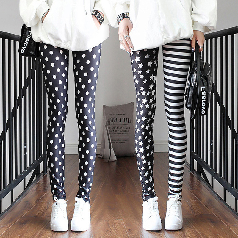 La MaxPa Women Leggings Ladies Pants Summer Stitching Striped Stars Leggings Trousers Slim Pants K2092