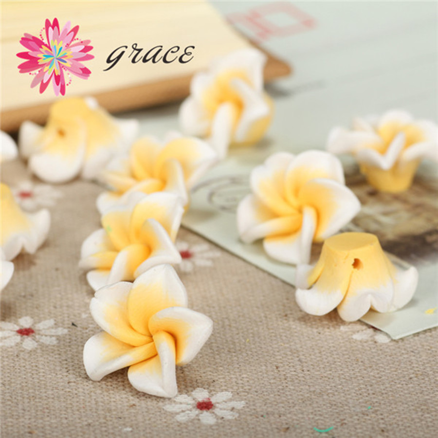 20pclot 18mm Fimo Polymer Clay Artificial Plumeria Flower Beads Diy