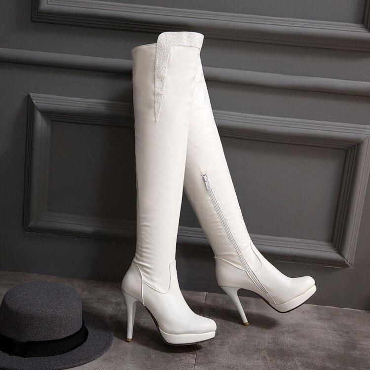2016 Winter Herbst Neue High Heel Stiefel Freizeit Elegante Heels Sexy Frauen Schuhe Stiefel Runde Zehe Dünne Ferse Leder Stiefel 7155 Moderater Preis