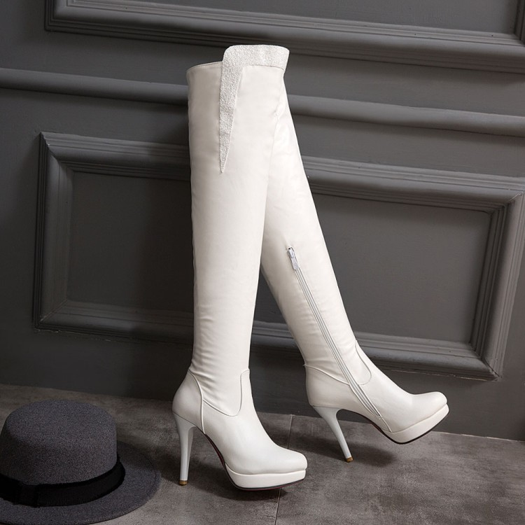 Zapatos Ocio Invierno Fino Elegantes Botas 2016 Punta Alto blanco Mujeres Sexy Cuero 7155 Nuevas Negro De Redonda Tacones Otoño Tacón 7dWF8q0W