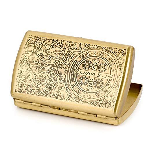 [Golden Carving]Fashion Constantine Durable Nobility Bronze Men's Cigarette Case Cig Holder Hold 12 Cigarettes
