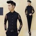 2016 Mens Fashion Impreso Camisas de Vestir Opacidad Camisas Slim Fit Hombres de Manga Larga Hombre Camisa de Encaje