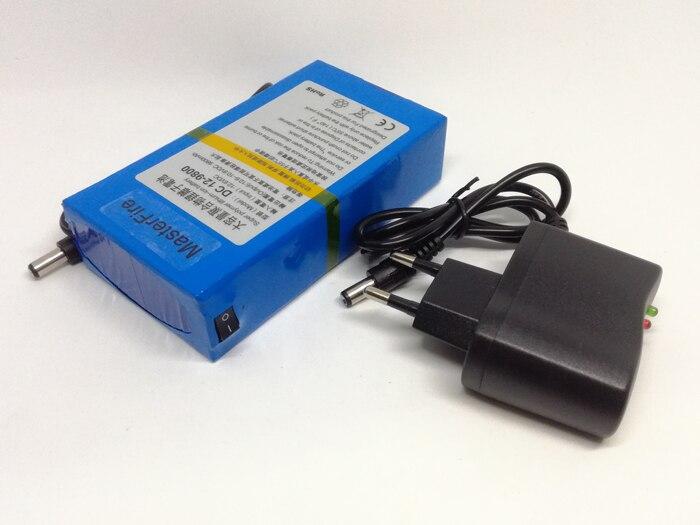 MasterFire 10 set/lote Novo DC 12V Portátil 9800mAh Li-ion Super Bateria Recarregável para câmera de CFTV transmissor sem fio