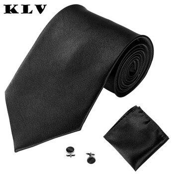 KLV 2017 mens accessoires femme men silk tie sets Satin 3PCS Classic Jacquard Men Party Tie Pocket Square Handkerchief Cuff Link
