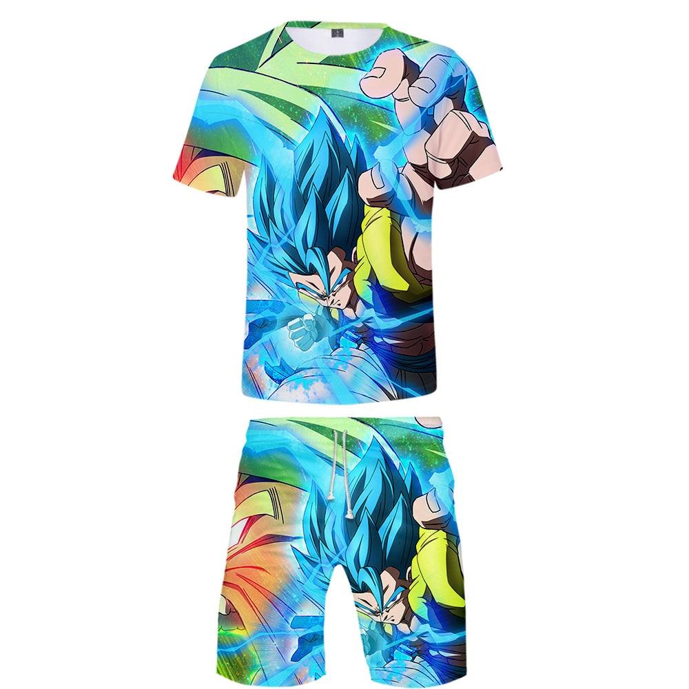 Hot Dragon Ball Super Broly Men's T Shirt And Shorts Set Summer Men Sets Dragon Ball Goku 3D Print Beach Shorts Child Clothes
