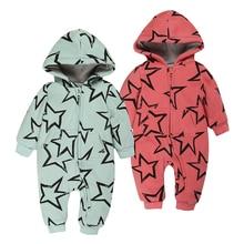 Зима Хлопка Младенца толстый теплый с длинным рукавом Rompers Комбинезон Наряды младенческой Звезда печати