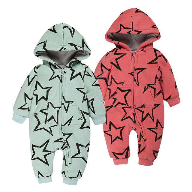 winter Baby Cotton thick warm long sleeve Rompers Jumpsuit Outfits infant Star printing