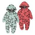 Bebé de Algodón de invierno gruesa caliente de manga larga de Los Mamelucos Del Mono infantil Trajes Estrella de impresión