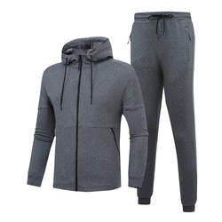 2018 Новый Для мужчин спортивной осень-зима Толстые Комплекты пальто с капюшоном Повседневное спортивный костюм мужской толстовка + брюки