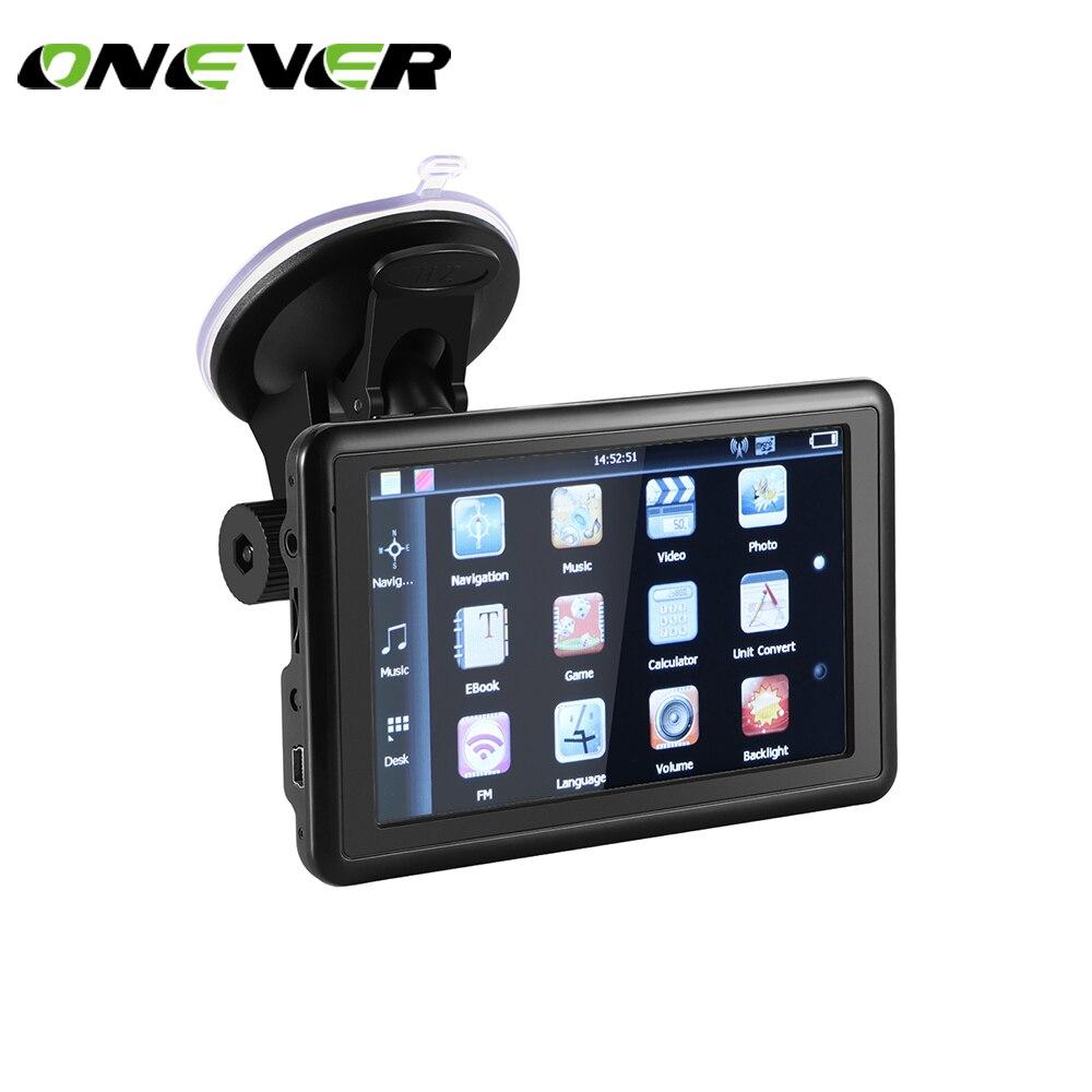 Onever 5 pouces Auto voiture GPS Navigation 128 M Sat Nav dernières cartes gratuites WinCE 6.0 FM Support multi-langues avec boîte de vente au détail
