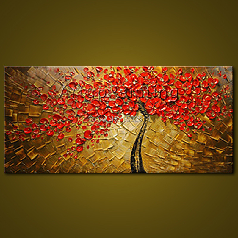 Canvas oil painting caudros decoracion palette knife 3D texture red ...
