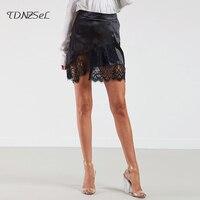 Sexy Lace Mesh Patchwork Skirt Women Package Hip Asymmetrical Slim Black Purple Career Step mini Short Skirts Club Autumn Winter
