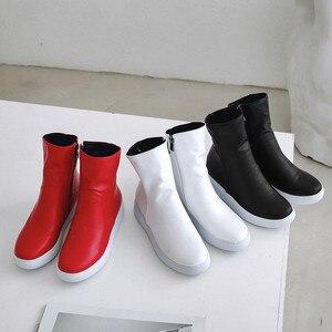 Image 4 - MORAZORA 2020 nuove donne di arrivo stivaletti stivali dellunità di elaborazione punta rotonda stivali autunno della chiusura lampo semplice confortevole casuale scarpe basse donna rosso