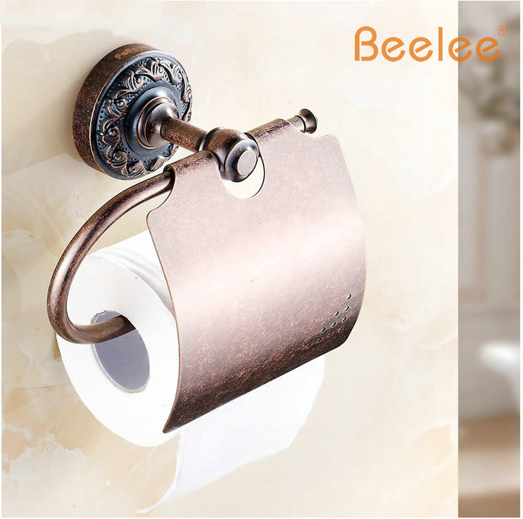 Beelee BA7510AC Antique Brass Wall-mounted Toilet Roll Holder,roll holder toilet paper holder tissue box s bath hardware black of toilet paper all copper toilet tissue box antique toilet paper basket american top hand cartons