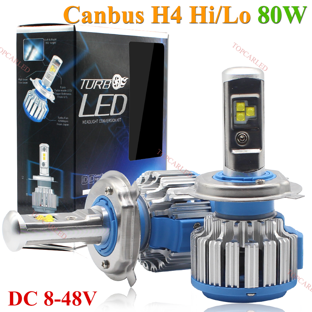 Super Bright Car Headlights LED H4 4i/Lo 80W 8000LM Canbus Auto Front Bulb Automobile Waterproof  Headlamp 6000K Car Lighting