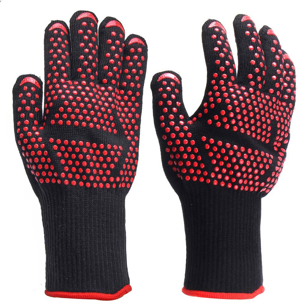 1Pair Extreme Heat Resistant BBQ Oven Gloves 500 degC Pot