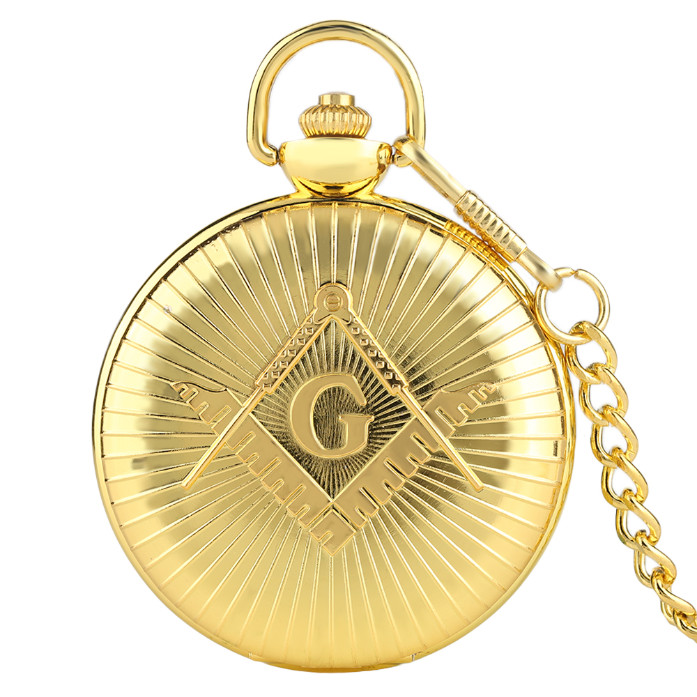 цены на Luxury Golden Big G Masonic Free-Mason Freemasonry Jewelry Quartz Pocket Watch Fob Watches Pocket Chain Gifts Relogio De Bolso