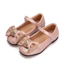 43874ee27 2019NEW الأسود الأحمر الوردي bowknot طفلة الأميرة أحذية لينة سوليد بو الجلود  الفتيات الطفل الرقص أحذية
