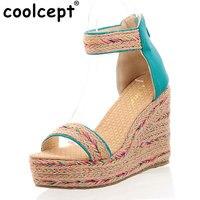 CooLcept Размер: 31–47 женские высокий каблук сандалии на платформе с принтом пикантная женская летняя модная обувь на каблуке Обувь на каблуке ...