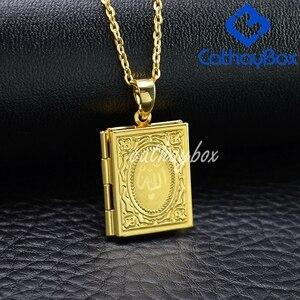 Image 5 - Ramazan Hediye Kuran Kitap Madalyon Kolye Altın Sesi İslam Tanrı Allah Kuran Charm Kolye Takı Için Müslüman Sıcak Satış