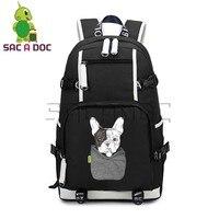 Funny Pocket Dog Backpack Women Men Canvas Backpack Laptop Backpack Travel Bag Teenage Boys Girls Large Capacity School Bookbags