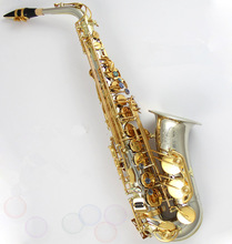 Tone alto high-quality saxophone E flat alto electrophoresis gold  copper-nickel alloy saxophone