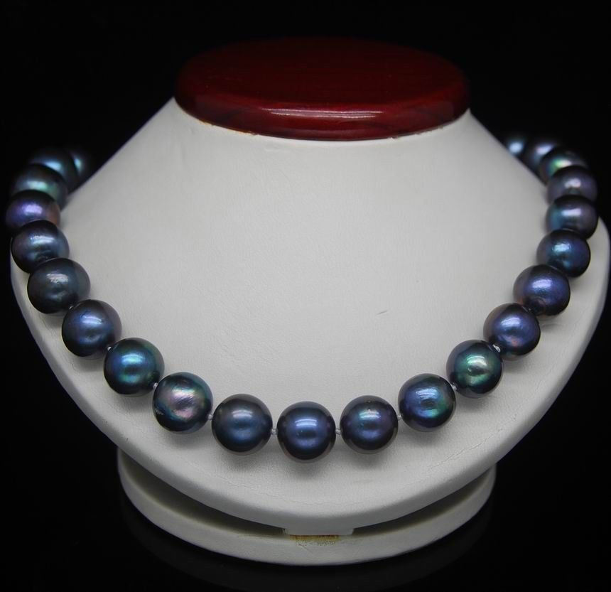 18 ''10-11 MM collier de perles de tahiti noir bleu 925 argent or brin//STYLE de chaîne