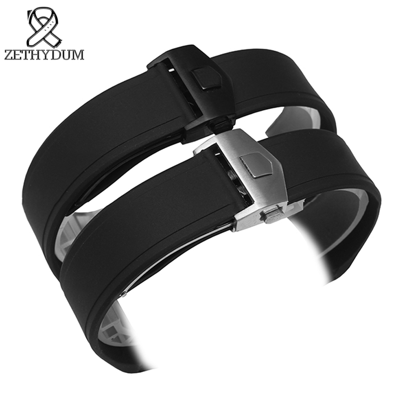 Silicone Watch Strap Waterproof Rubber Bracelet 22mm Black Watch Belt Wristwatches Band Watch Accessories