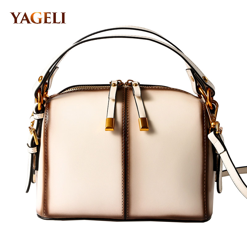 Genuine leather boston bags for women luxury handbags women bags designer 2018 fashion shoulder messenger bags for lady цена