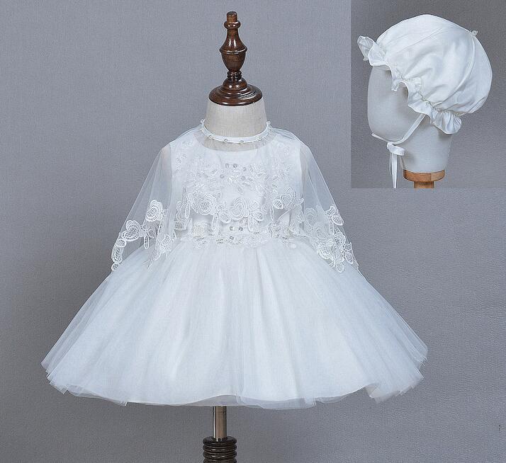 c7db36f1dd Bebé recién nacido vestidos bautizo Ball gown perlas rebordear infantil  Niñas Encaje boda del bautismo vestido con sombrero mantón 3 unids set