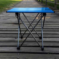 Light Camping Table Portable Foldable Folding BBQ Blue Mini for Backpack Desk Traveling Outdoor 7075 Al Alloy Ultra-light Table