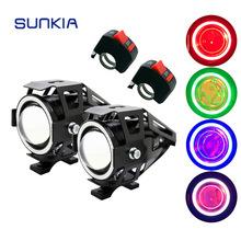 SUNKIA 2Pcs/Set U7 Motorcycle LED Headlight With Switch Fog Lamp CREE Chip 125W 3000LM Devil +Angel Eye Ring DRL Lamp 2pcs pair sunkia with switch waterproof cree chip u7 led motorcycle headlight fog light spot light lamp 4 colors angle eye light