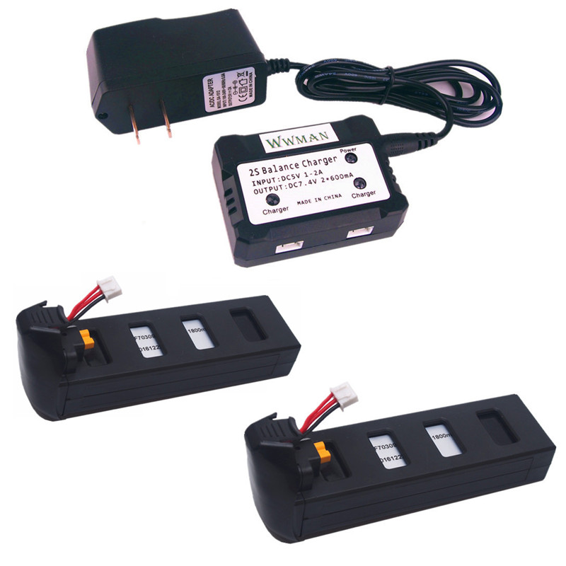Black Color 1to2 7.4V Charger and 2pcs 7.4V 1800mah batteriesfor MJX b2w Bugs 2w Bugs 2 b2c Rc Quadcopter Drone Parts